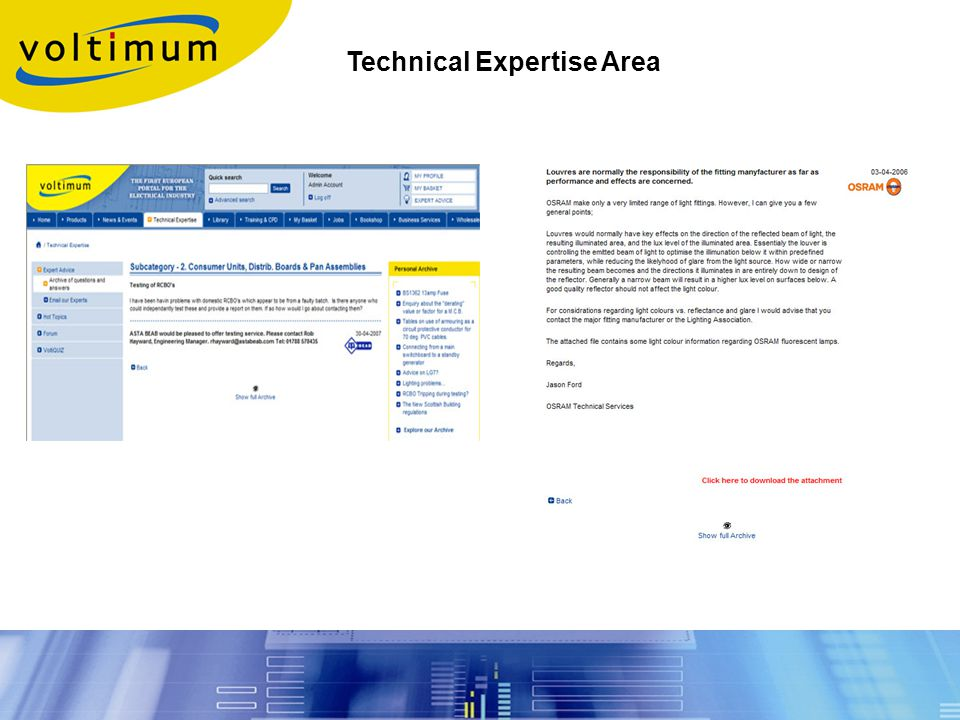 Technical Expertise Area