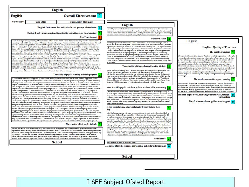 I-SEF Subject Ofsted Report