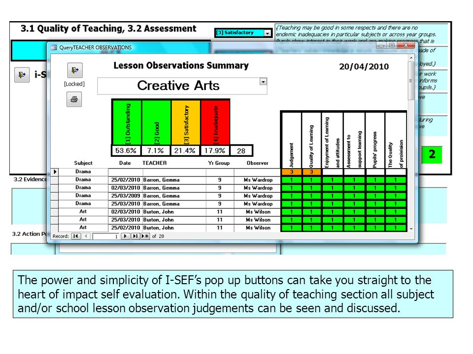 The power and simplicity of I-SEF's pop up buttons can take you straight to the heart of impact self evaluation.