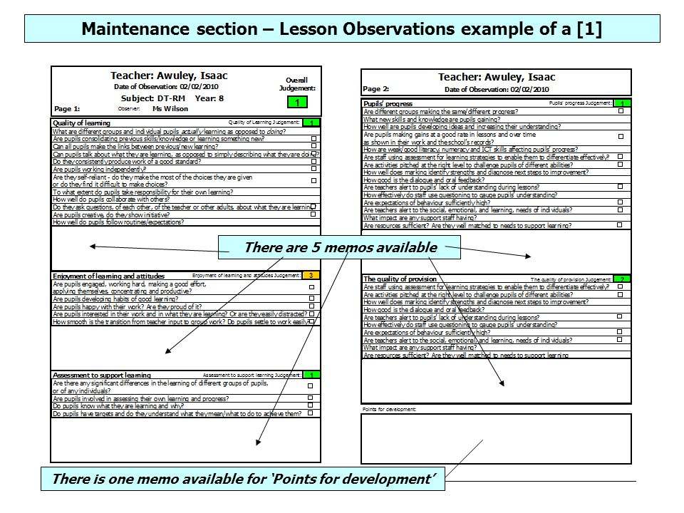 Maintenance section – Lesson Observations example of a [1] There are 5 memos available There is one memo available for 'Points for development'