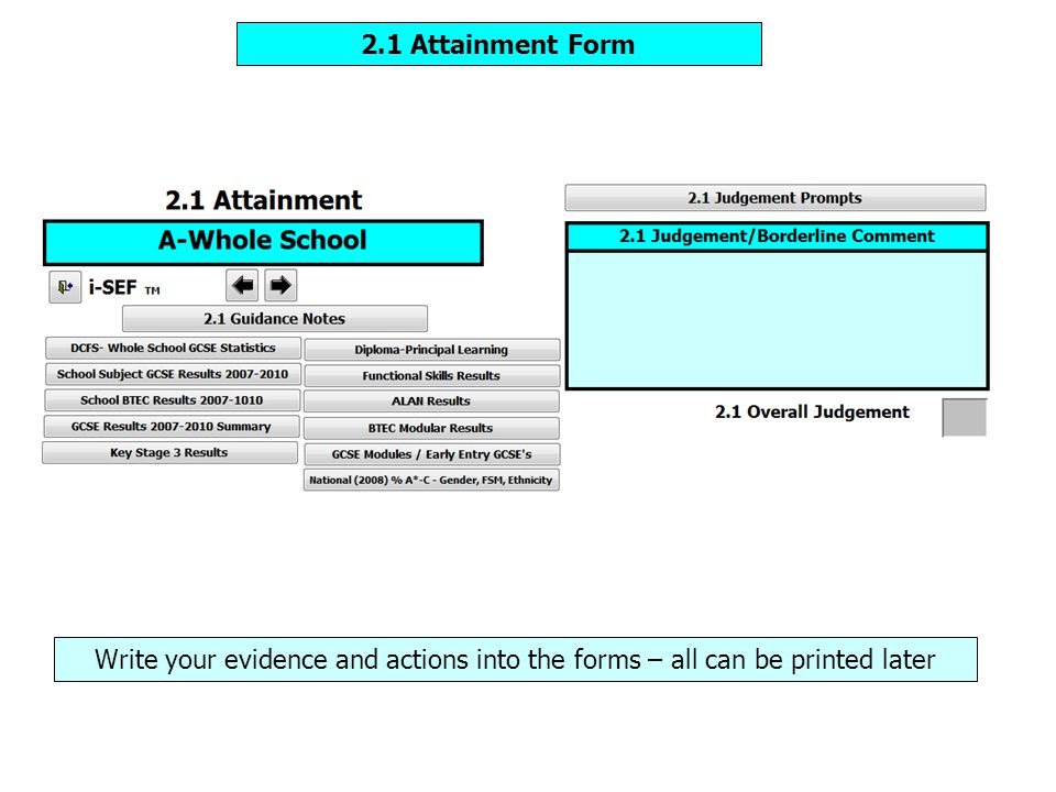 2.1 Attainment Form Write your evidence and actions into the forms – all can be printed later