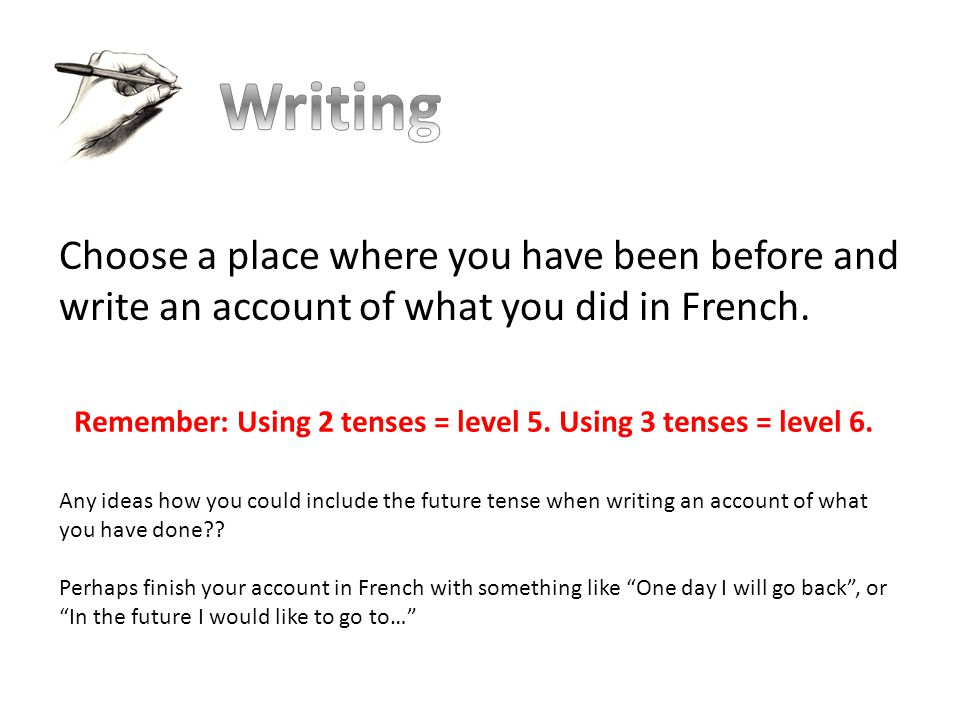Choose a place where you have been before and write an account of what you did in French.