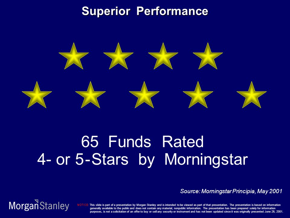 Superior Performance 65 Funds Rated 4- or 5 - Stars by Morningstar Source: Morningstar Principia, May 2001 NOTICE: This slide is part of a presentation by Morgan Stanley and is intended to be viewed as part of that presentation.