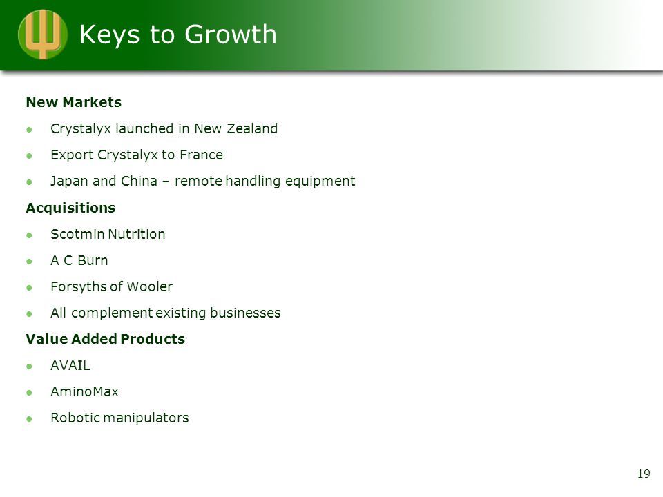 Keys to Growth New Markets Crystalyx launched in New Zealand Export Crystalyx to France Japan and China – remote handling equipment Acquisitions Scotmin Nutrition A C Burn Forsyths of Wooler All complement existing businesses Value Added Products AVAIL AminoMax Robotic manipulators 19