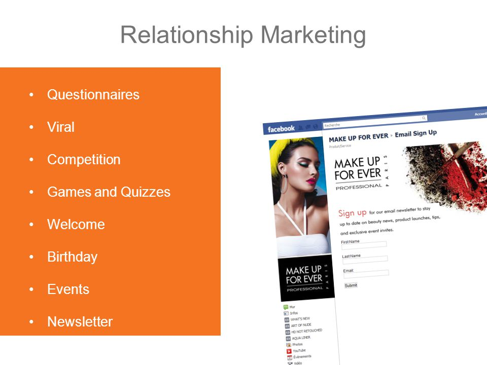 Relationship Marketing Questionnaires Viral Competition Games and Quizzes Welcome Birthday Events Newsletter