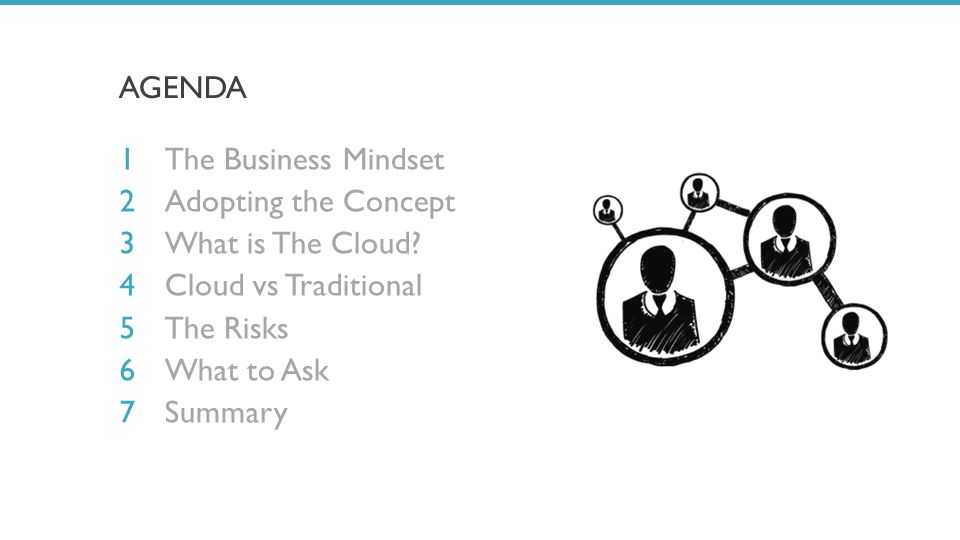 AGENDA The Business Mindset Adopting the Concept What is The Cloud.