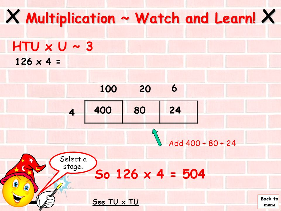 Back to menu x Multiplication ~ Watch and Learn! x HTU x U ~ 2 126 x 4 = Next 10020 4 Partition 126 into 100, 20 and 6 6 4008024 The answer to 4 x 100