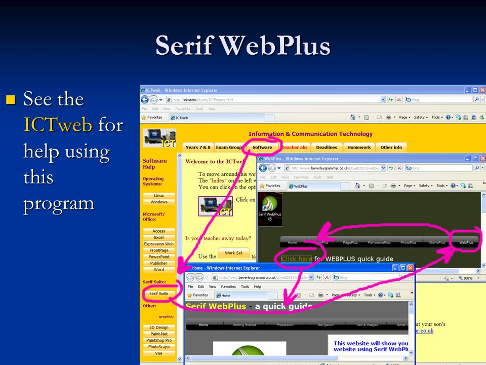 3 (of 10) Serif WebPlus See the ICTweb for help using this program See the ICTweb for help using this program