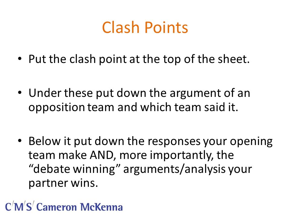 Clash Points continued.Add examples to your partners analysis.