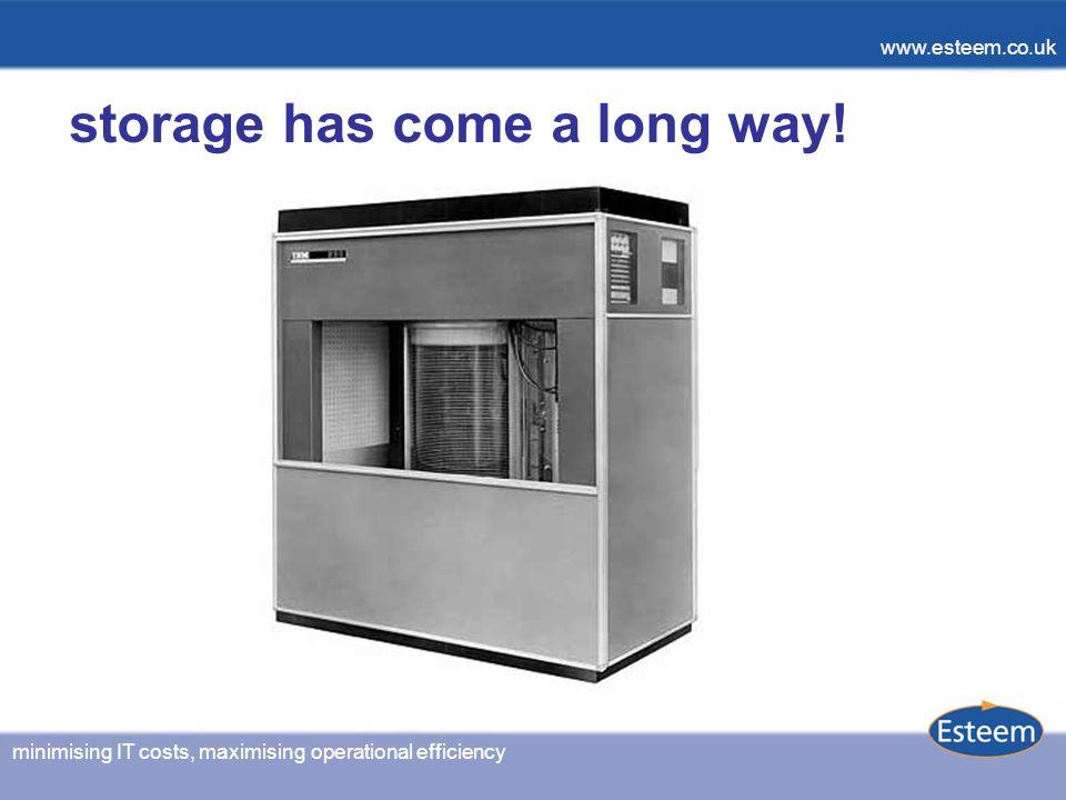 www.esteem.co.uk minimising IT costs, maximising operational efficiency www.esteem.co.uk storage has come a long way!