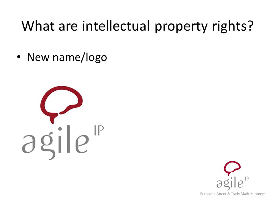 New name/logo What are intellectual property rights?