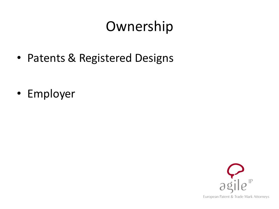 Ownership Patents & Registered Designs Employer