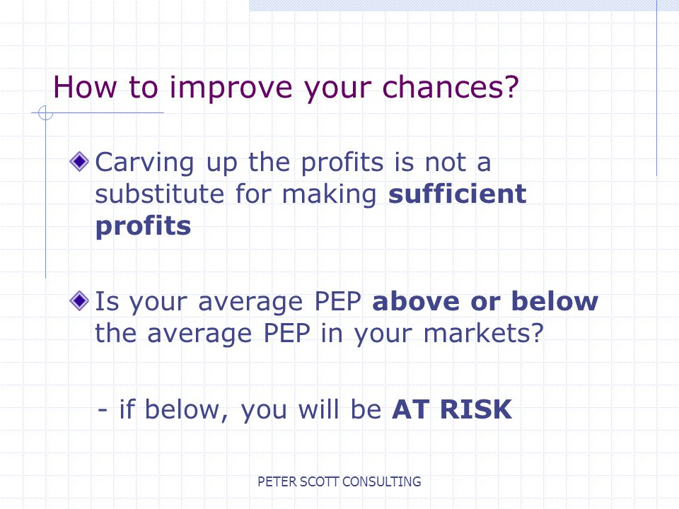 PETER SCOTT CONSULTING How to improve your chances.
