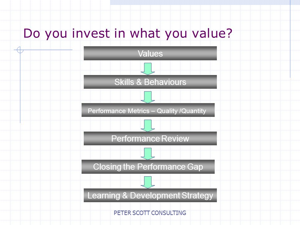 PETER SCOTT CONSULTING Do you invest in what you value.