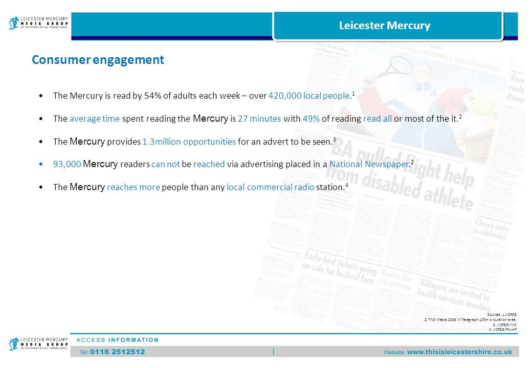 Reach by demographic group Source: TNS Media 2006 in Leicester Mercury 10%+ circulation area % Leicester Mercury