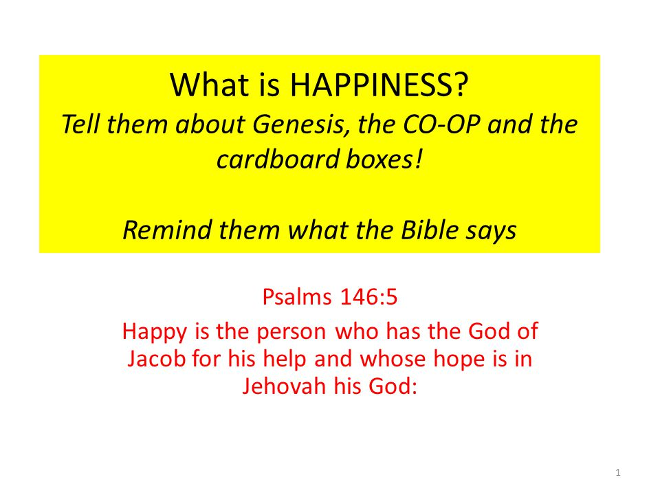 What is HAPPINESS. Tell them about Genesis, the CO-OP and the cardboard boxes.