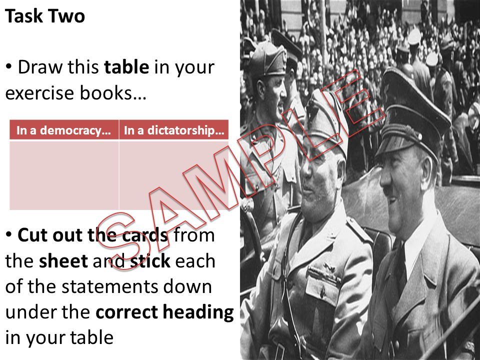 Task Two Draw this table in your exercise books… Cut out the cards from the sheet and stick each of the statements down under the correct heading in y