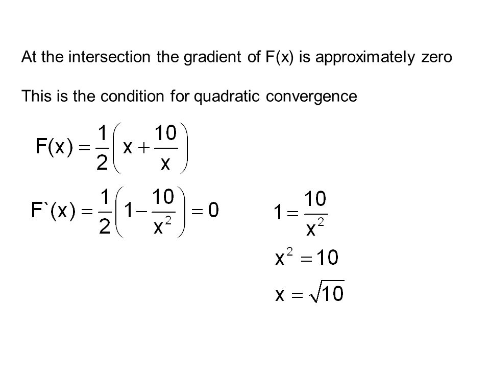 At the intersection the gradient of F(x) is approximately zero This is the condition for quadratic convergence