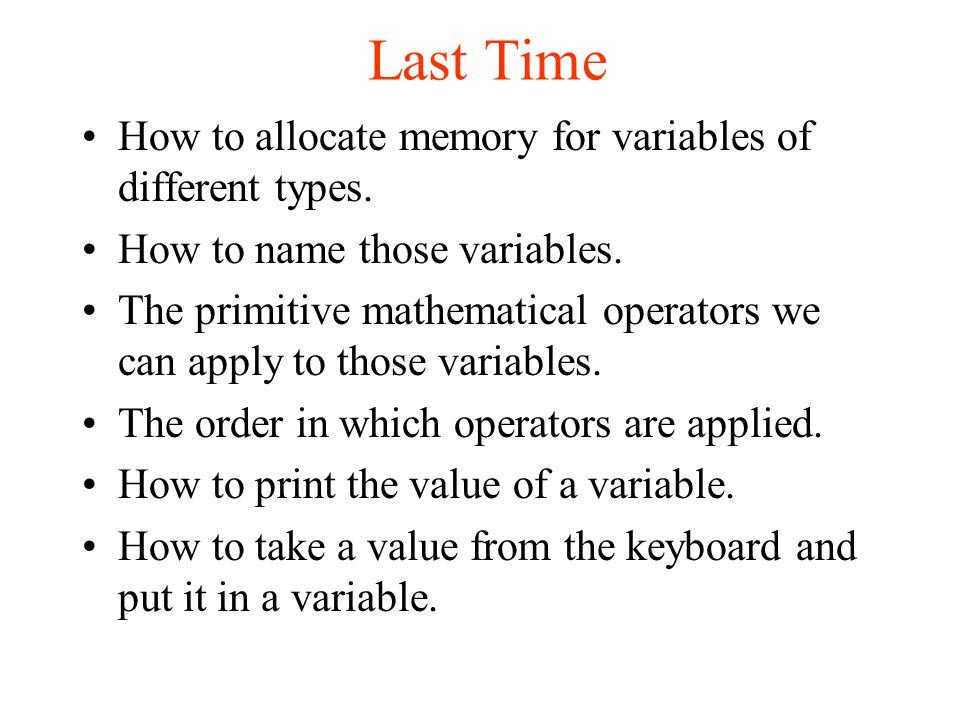 How to allocate memory for variables of different types.