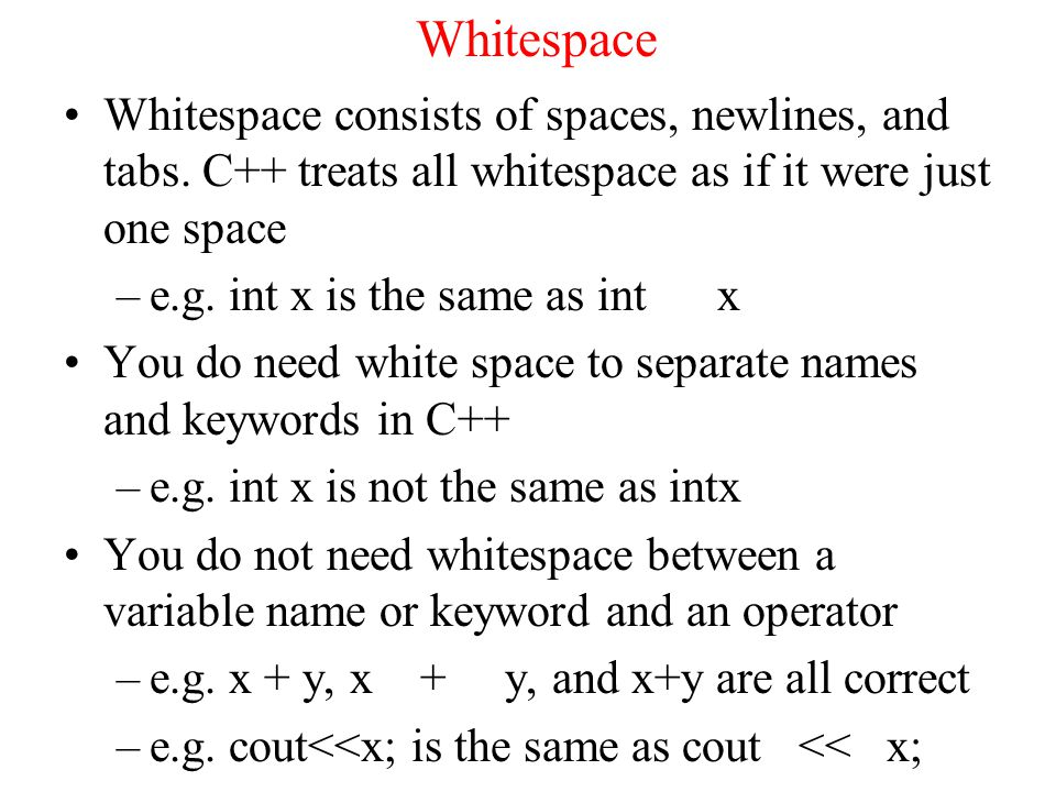 Whitespace Whitespace consists of spaces, newlines, and tabs.