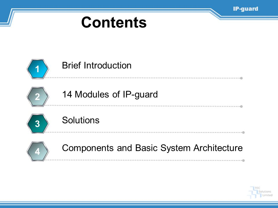 IP-guard Contents Brief Introduction 1 14 Modules of IP-guard 2 Solutions 3 Components and Basic System Architecture 4
