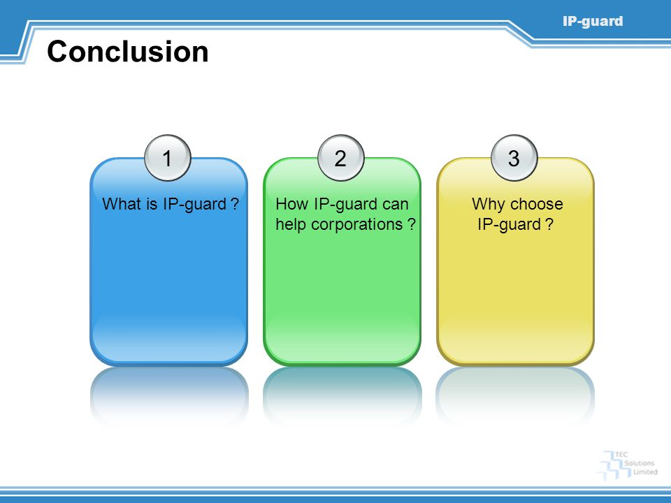IP-guard Conclusion 1 What is IP-guard ? 2 How IP-guard can help corporations ? 3 Why choose IP-guard ?