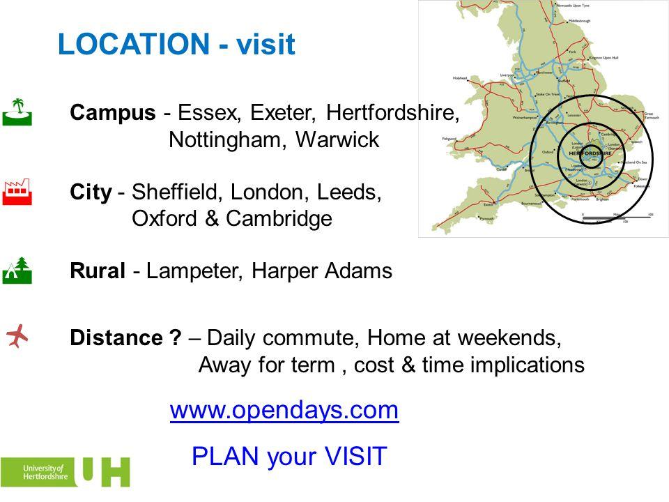 LOCATION - visit Campus - Essex, Exeter, Hertfordshire, Nottingham, Warwick  City - Sheffield, London, Leeds, Oxford & Cambridge  Rural - Lampeter,