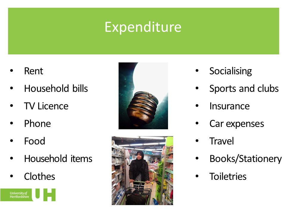 Expenditure Rent Household bills TV Licence Phone Food Household items Clothes Socialising Sports and clubs Insurance Car expenses Travel Books/Statio