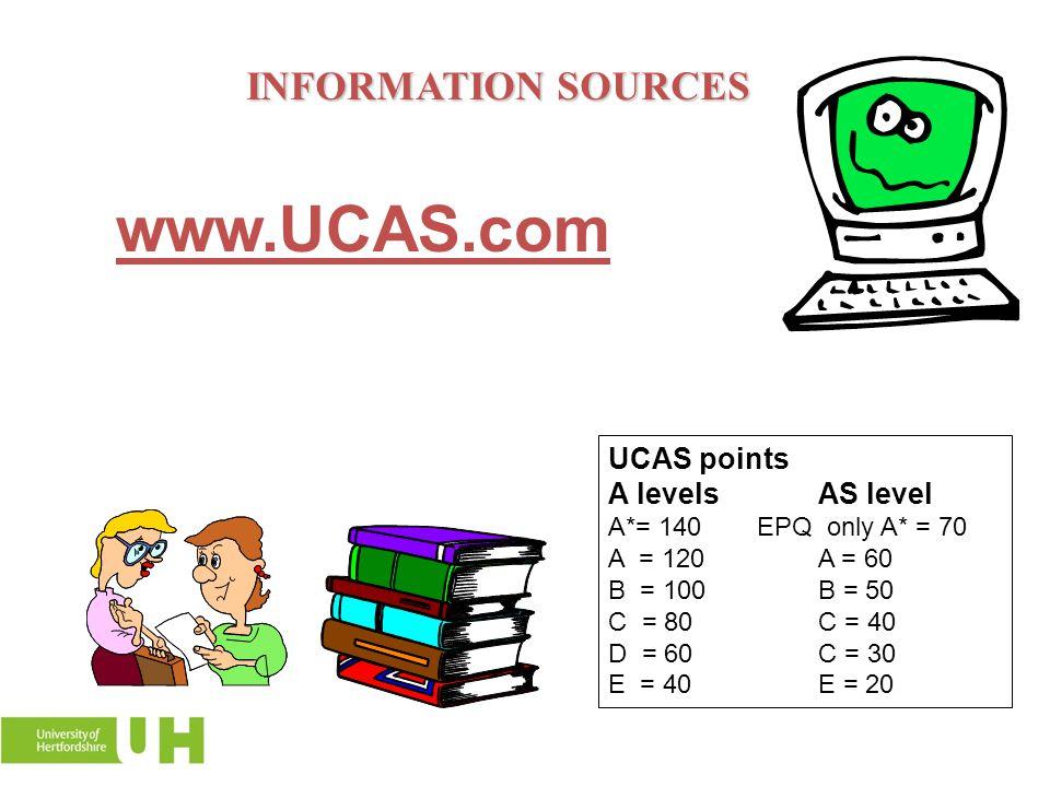 INFORMATION SOURCES www.UCAS.com UCAS points A levelsAS level A*= 140 EPQ only A* = 70 A = 120A = 60 B = 100B = 50 C = 80C = 40 D = 60C = 30 E = 40E =