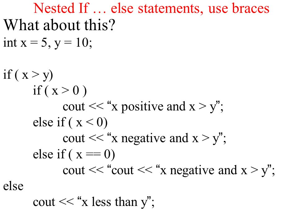 Nested If … else statements, use braces What about this.