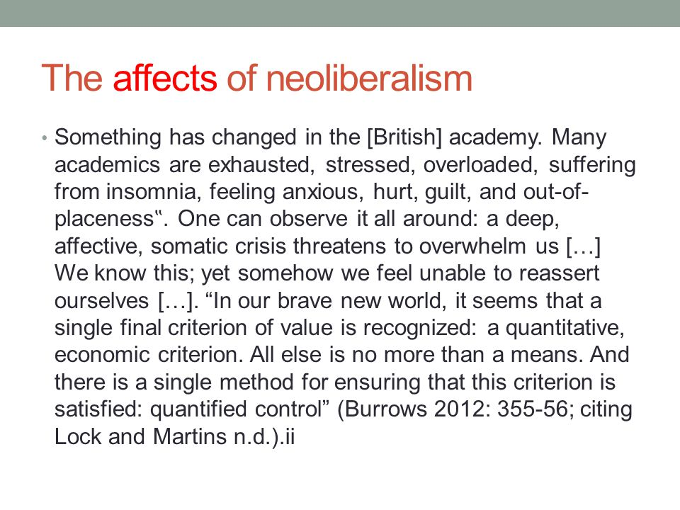 The affects of neoliberalism Something has changed in the [British] academy.