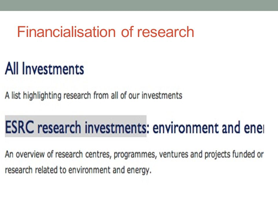 Financialisation of research