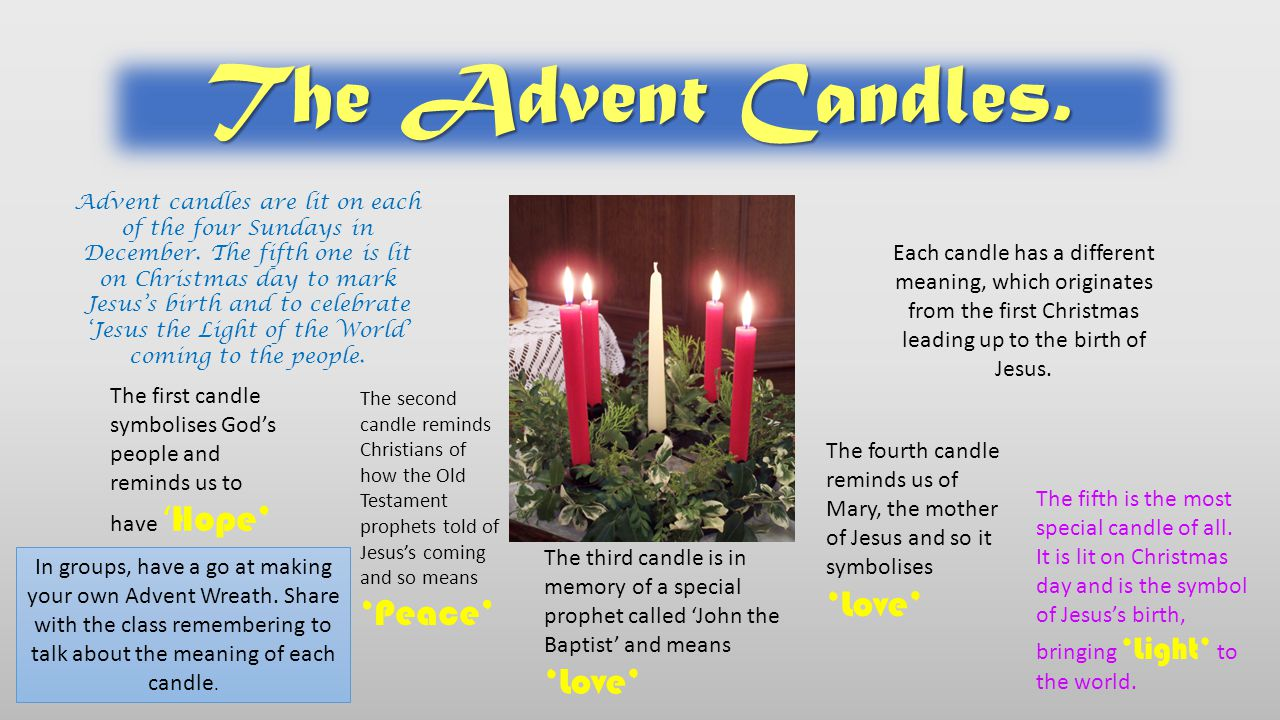 A 'Christingle' means 'Christ's Light' and is another symbol of the Christian faith which uses light to represent Jesus as the light of the world.