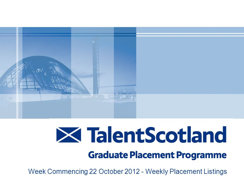 Week Commencing 22 October 2012 - Weekly Placement Listings