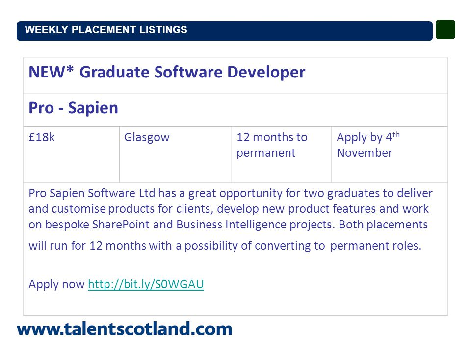 NEW* Graduate Software Developer Pro - Sapien £18kGlasgow12 months to permanent Apply by 4 th November Pro Sapien Software Ltd has a great opportunity for two graduates to deliver and customise products for clients, develop new product features and work on bespoke SharePoint and Business Intelligence projects.