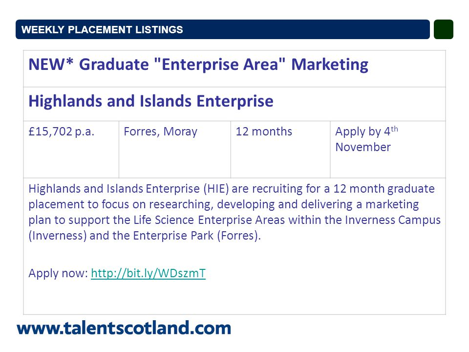 NEW* Graduate Enterprise Area Marketing Highlands and Islands Enterprise £15,702 p.a.Forres, Moray12 monthsApply by 4 th November Highlands and Islands Enterprise (HIE) are recruiting for a 12 month graduate placement to focus on researching, developing and delivering a marketing plan to support the Life Science Enterprise Areas within the Inverness Campus (Inverness) and the Enterprise Park (Forres).