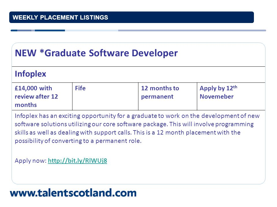 WEEKLY PLACEMENT LISTINGS NEW *IT and Networking Administrator McGhee Group £20,000 p.a.Glasgow12 months to permanent Apply by 11 th November The McGhee Group has an opportunity for a graduate to work closely with the IT manager in supporting a wide range of IT and administrative activities.