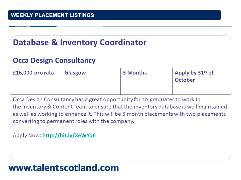 WEEKLY PLACEMENT LISTINGS Technical Quality Assistant Castle MacLellan Foods Limited £14-19,000 p.aDumfries and Galloway 12 months to permanent Apply by 31 October 2012 Castle MacLellan Foods Limited have an exciting opportunity for a graduate Technical Quality Assistant to help launch new products, create new systems, trial new products, prepare specifications and improve systems.