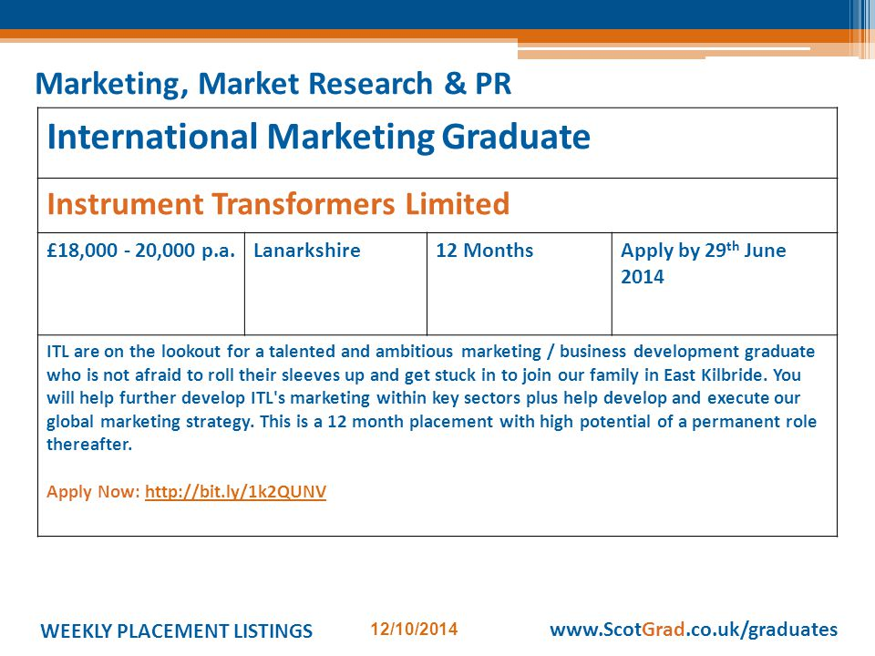 WEEKLY PLACEMENT LISTINGS 12/10/2014 www.ScotGrad.co.uk/graduates International Marketing Graduate Instrument Transformers Limited £18,000 - 20,000 p.a.Lanarkshire12 MonthsApply by 29 th June 2014 ITL are on the lookout for a talented and ambitious marketing / business development graduate who is not afraid to roll their sleeves up and get stuck in to join our family in East Kilbride.