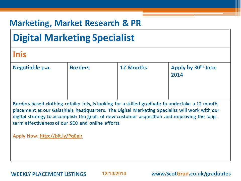WEEKLY PLACEMENT LISTINGS 12/10/2014 www.ScotGrad.co.uk/graduates Digital Marketing Specialist Inis Negotiable p.a.Borders12 MonthsApply by 30 th June 2014 Borders based clothing retailer Inis, is looking for a skilled graduate to undertake a 12 month placement at our Galashiels headquarters.