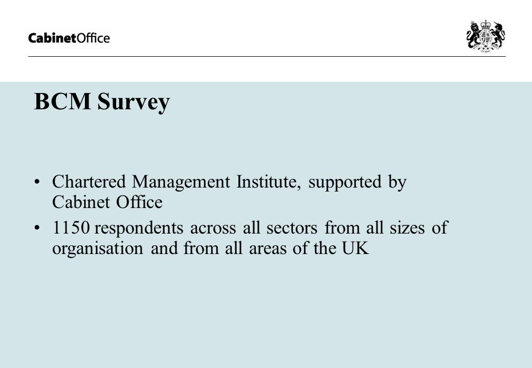 BCM Survey Chartered Management Institute, supported by Cabinet Office 1150 respondents across all sectors from all sizes of organisation and from all areas of the UK