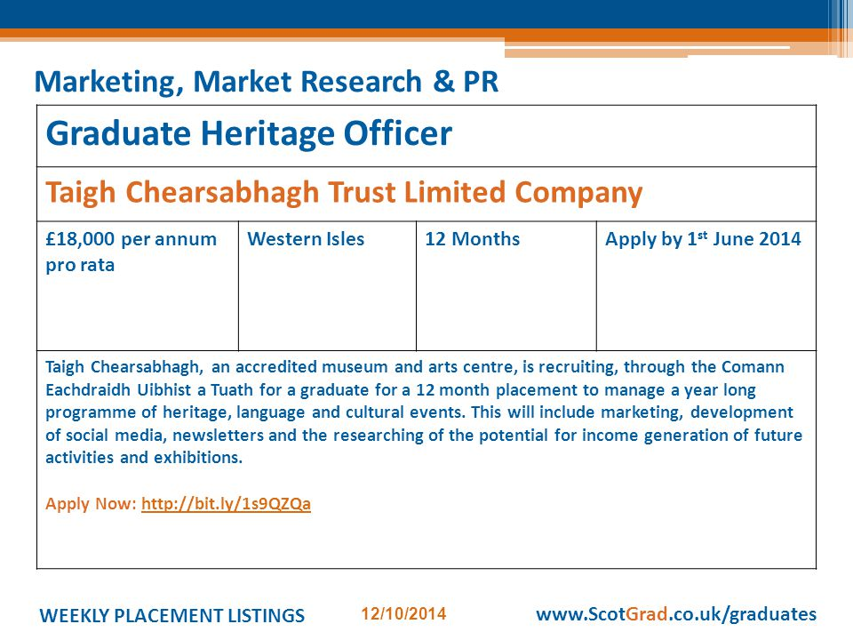 WEEKLY PLACEMENT LISTINGS 12/10/2014 www.ScotGrad.co.uk/graduates Graduate Heritage Officer Taigh Chearsabhagh Trust Limited Company £18,000 per annum pro rata Western Isles12 MonthsApply by 1 st June 2014 Taigh Chearsabhagh, an accredited museum and arts centre, is recruiting, through the Comann Eachdraidh Uibhist a Tuath for a graduate for a 12 month placement to manage a year long programme of heritage, language and cultural events.