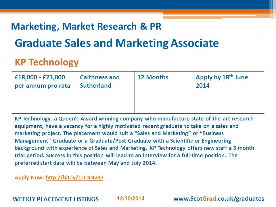 WEEKLY PLACEMENT LISTINGS 12/10/2014 www.ScotGrad.co.uk/graduates Graduate Sales and Marketing Associate KP Technology £18,000 - £23,000 per annum pro rata Caithness and Sutherland 12 MonthsApply by 18 th June 2014 KP Technology, a Queen's Award winning company who manufacture state-of-the art research equipment, have a vacancy for a highly motivated recent graduate to take on a sales and marketing project.