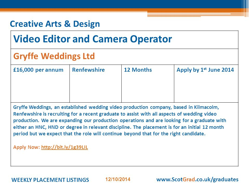 WEEKLY PLACEMENT LISTINGS 12/10/2014 www.ScotGrad.co.uk/graduates Video Editor and Camera Operator Gryffe Weddings Ltd £16,000 per annumRenfewshire12 MonthsApply by 1 st June 2014 Gryffe Weddings, an established wedding video production company, based in Kilmacolm, Renfewshire is recruiting for a recent graduate to assist with all aspects of wedding video production.
