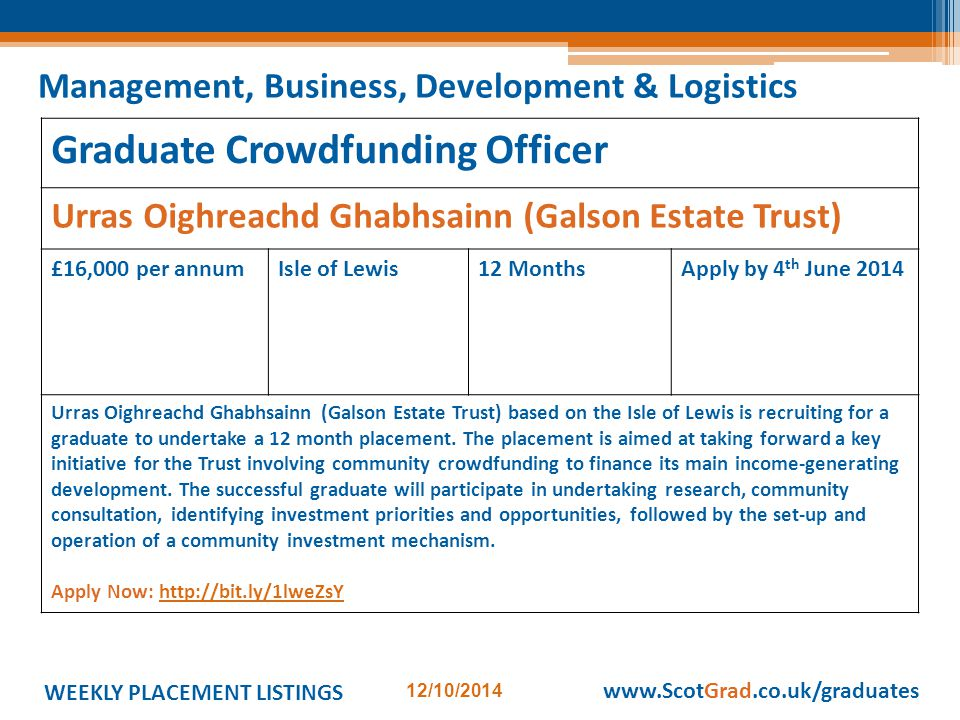 WEEKLY PLACEMENT LISTINGS 12/10/2014 www.ScotGrad.co.uk/graduates Graduate Crowdfunding Officer Urras Oighreachd Ghabhsainn (Galson Estate Trust) £16,000 per annumIsle of Lewis12 MonthsApply by 4 th June 2014 Urras Oighreachd Ghabhsainn (Galson Estate Trust) based on the Isle of Lewis is recruiting for a graduate to undertake a 12 month placement.