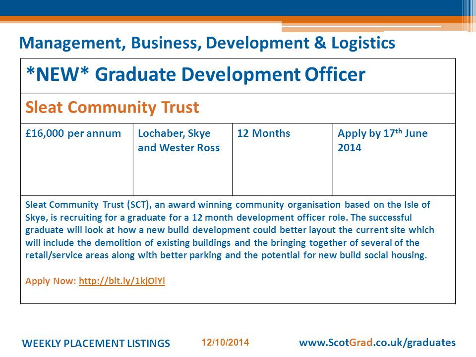 WEEKLY PLACEMENT LISTINGS 12/10/2014 www.ScotGrad.co.uk/graduates *NEW* Graduate Development Officer Sleat Community Trust £16,000 per annumLochaber, Skye and Wester Ross 12 MonthsApply by 17 th June 2014 Sleat Community Trust (SCT), an award winning community organisation based on the Isle of Skye, is recruiting for a graduate for a 12 month development officer role.