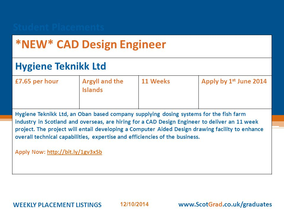 WEEKLY PLACEMENT LISTINGS 12/10/2014 www.ScotGrad.co.uk/graduates *NEW* CAD Design Engineer Hygiene Teknikk Ltd £7.65 per hourArgyll and the Islands 11 WeeksApply by 1 st June 2014 Hygiene Teknikk Ltd, an Oban based company supplying dosing systems for the fish farm industry in Scotland and overseas, are hiring for a CAD Design Engineer to deliver an 11 week project.