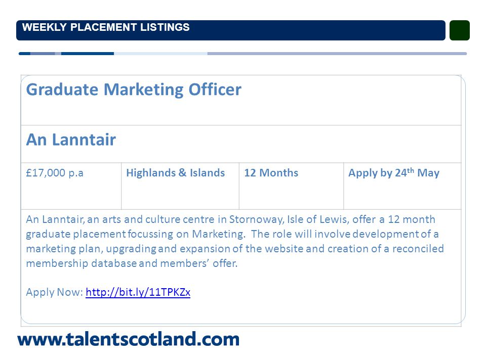 WEEKLY PLACEMENT LISTINGS Graduate Marketing Officer An Lanntair £17,000 p.aHighlands & Islands12 MonthsApply by 24 th May An Lanntair, an arts and culture centre in Stornoway, Isle of Lewis, offer a 12 month graduate placement focussing on Marketing.