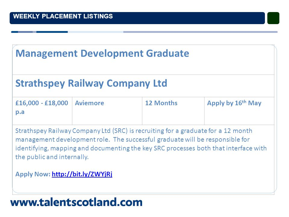 WEEKLY PLACEMENT LISTINGS Management Development Graduate Strathspey Railway Company Ltd £16,000 - £18,000 p.a Aviemore12 MonthsApply by 16 th May Strathspey Railway Company Ltd (SRC) is recruiting for a graduate for a 12 month management development role.