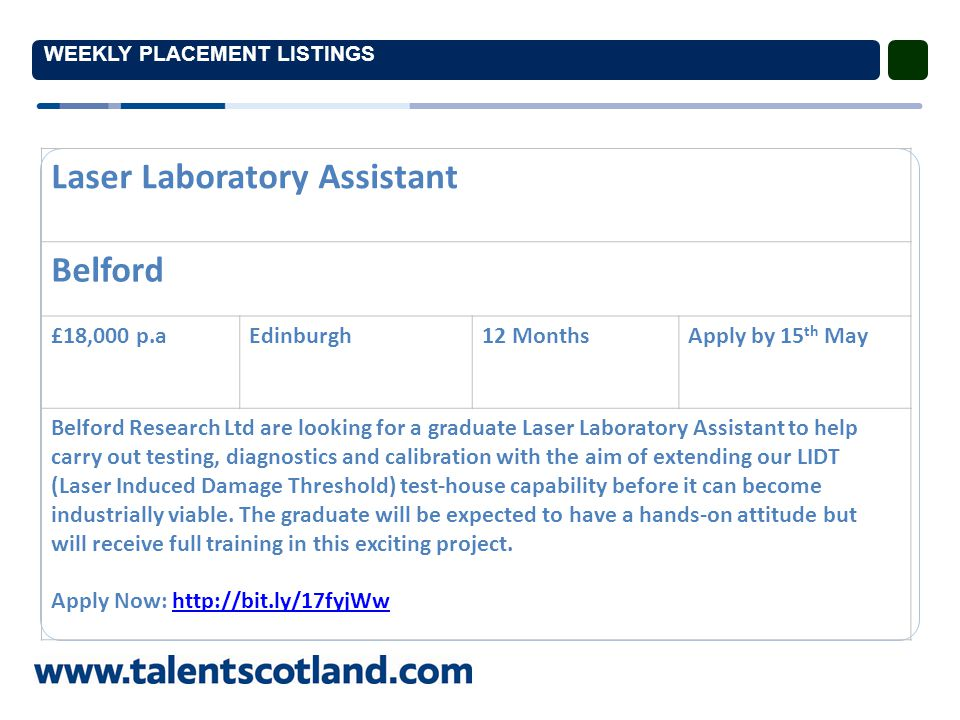 WEEKLY PLACEMENT LISTINGS Laser Laboratory Assistant Belford £18,000 p.aEdinburgh12 MonthsApply by 15 th May Belford Research Ltd are looking for a graduate Laser Laboratory Assistant to help carry out testing, diagnostics and calibration with the aim of extending our LIDT (Laser Induced Damage Threshold) test-house capability before it can become industrially viable.